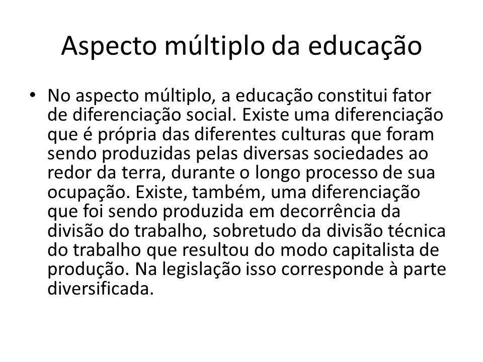Aspecto múltiplo da educação No aspecto múltiplo, a educação constitui fator de diferenciação social. Existe uma diferenciação que é própria das difer
