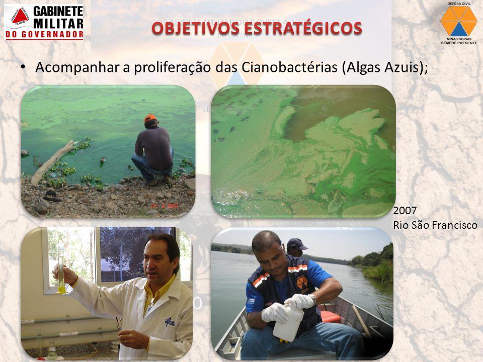 Acompanhar a proliferação das Cianobactérias (Algas Azuis); 2007 Rio São Francisco