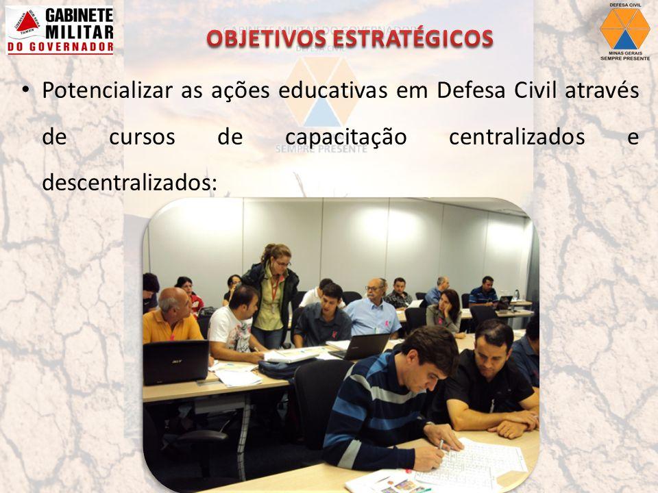 Potencializar as ações educativas em Defesa Civil através de cursos de capacitação centralizados e descentralizados: