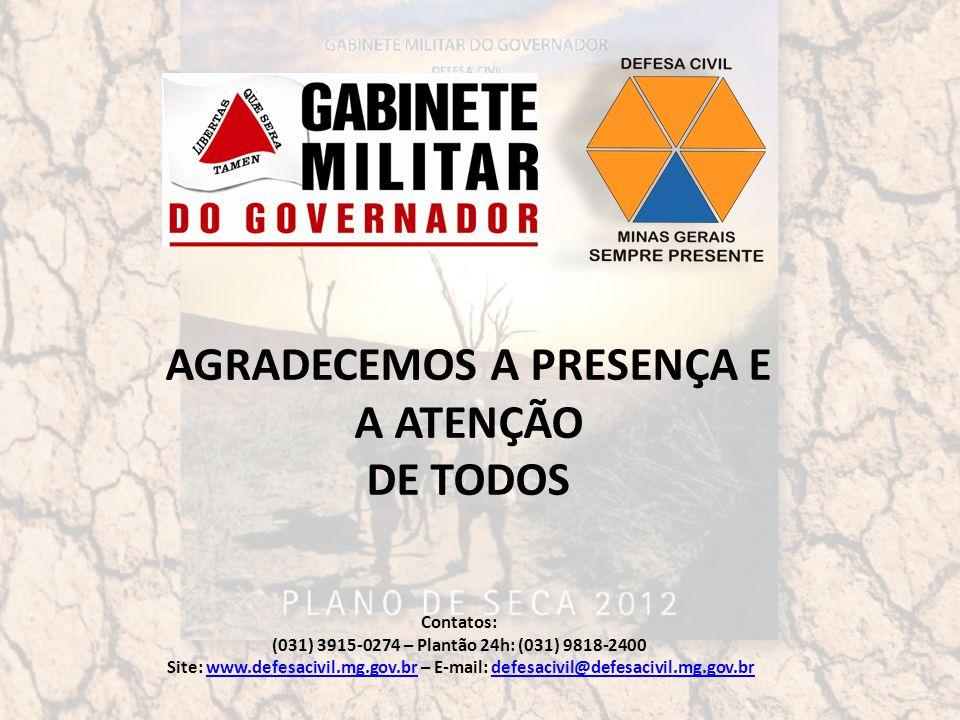 AGRADECEMOS A PRESENÇA E A ATENÇÃO DE TODOS Contatos: (031) 3915-0274 – Plantão 24h: (031) 9818-2400 Site: www.defesacivil.mg.gov.br – E-mail: defesacivil@defesacivil.mg.gov.brwww.defesacivil.mg.gov.brdefesacivil@defesacivil.mg.gov.br