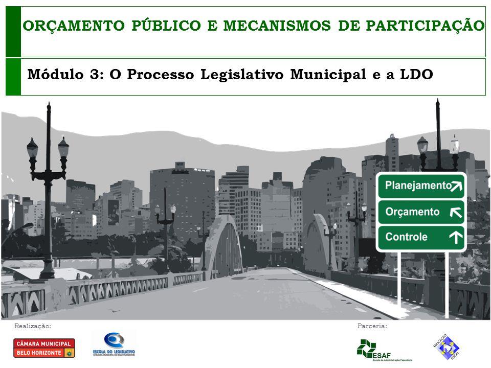 Realização: Parceria: ORÇAMENTO PÚBLICO E MECANISMOS DE PARTICIPAÇÃO Módulo 3: O Processo Legislativo Municipal e a LDO