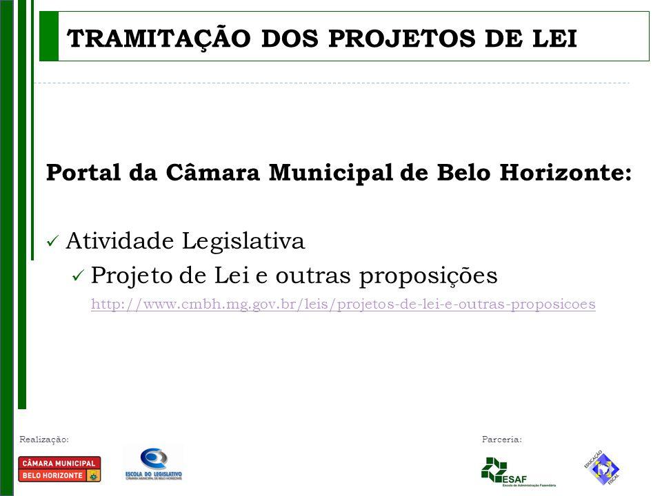 Realização: Parceria: TRAMITAÇÃO DOS PROJETOS DE LEI Portal da Câmara Municipal de Belo Horizonte: Atividade Legislativa Projeto de Lei e outras proposições http://www.cmbh.mg.gov.br/leis/projetos-de-lei-e-outras-proposicoes