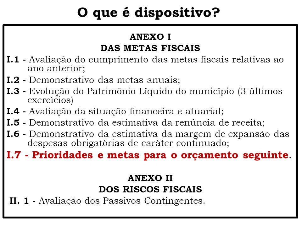 O que é dispositivo? ANEXO I DAS METAS FISCAIS I.1 - Avaliação do cumprimento das metas fiscais relativas ao ano anterior; I.2 - Demonstrativo das met
