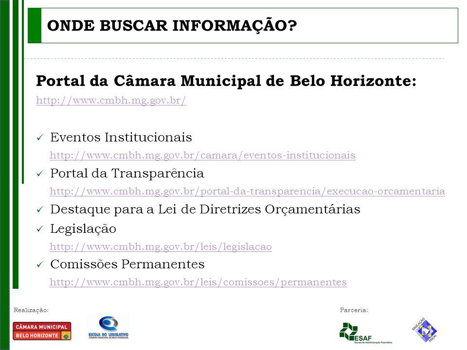 Realização: Parceria: Portal da Câmara Municipal de Belo Horizonte: http://www.cmbh.mg.gov.br/ Eventos Institucionais http://www.cmbh.mg.gov.br/camara/eventos-institucionais Portal da Transparência http://www.cmbh.mg.gov.br/portal-da-transparencia/execucao-orcamentaria Destaque para a Lei de Diretrizes Orçamentárias Legislação http://www.cmbh.mg.gov.br/leis/legislacao Comissões Permanentes http://www.cmbh.mg.gov.br/leis/comissoes/permanentes ONDE BUSCAR INFORMAÇÃO?