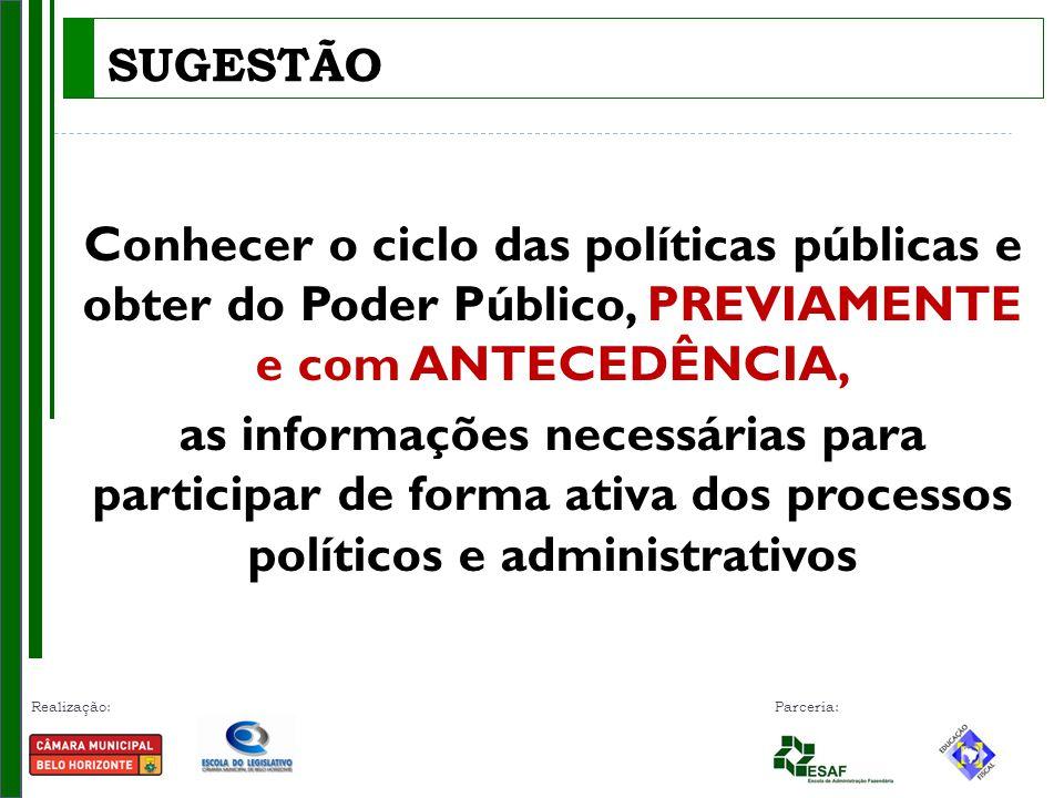 Realização: Parceria: Conhecer o ciclo das políticas públicas e obter do Poder Público, PREVIAMENTE e com ANTECEDÊNCIA, as informações necessárias par