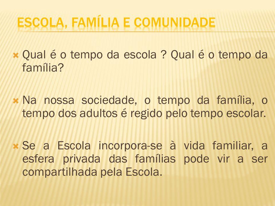 Qual é o tempo da escola ? Qual é o tempo da família? Na nossa sociedade, o tempo da família, o tempo dos adultos é regido pelo tempo escolar. Se a Es
