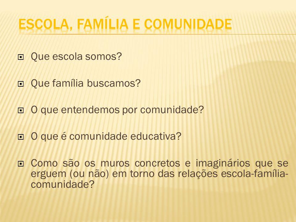 Que escola somos? Que família buscamos? O que entendemos por comunidade? O que é comunidade educativa? Como são os muros concretos e imaginários que s