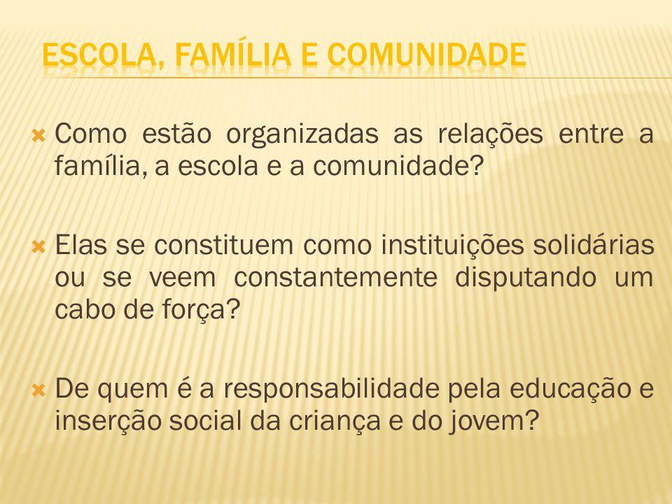 Como estão organizadas as relações entre a família, a escola e a comunidade? Elas se constituem como instituições solidárias ou se veem constantemente