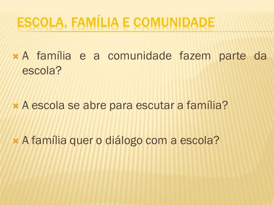 A família e a comunidade fazem parte da escola? A escola se abre para escutar a família? A família quer o diálogo com a escola?