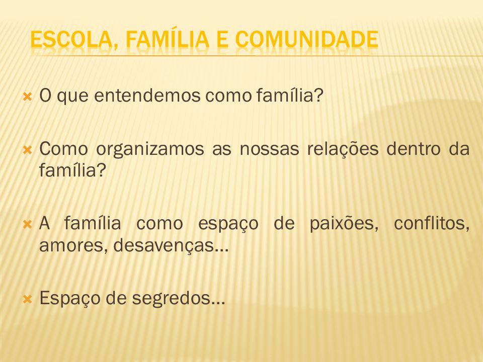 O que entendemos como família? Como organizamos as nossas relações dentro da família? A família como espaço de paixões, conflitos, amores, desavenças.