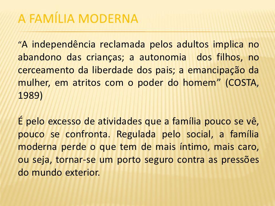 A FAMÍLIA MODERNA A independência reclamada pelos adultos implica no abandono das crianças; a autonomia dos filhos, no cerceamento da liberdade dos pa