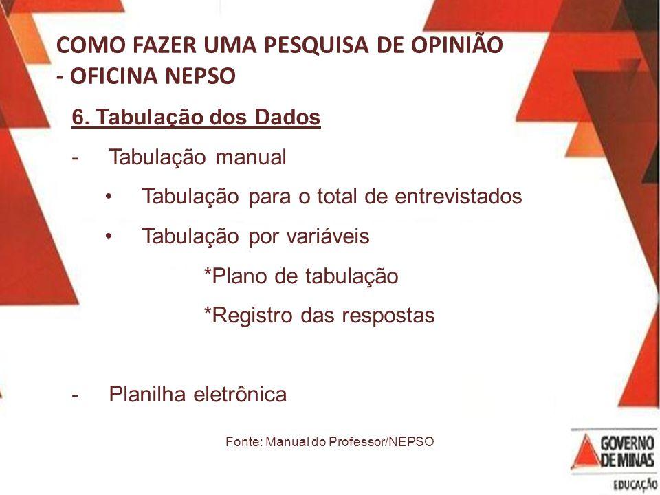 COMO FAZER UMA PESQUISA DE OPINIÃO - OFICINA NEPSO 6.