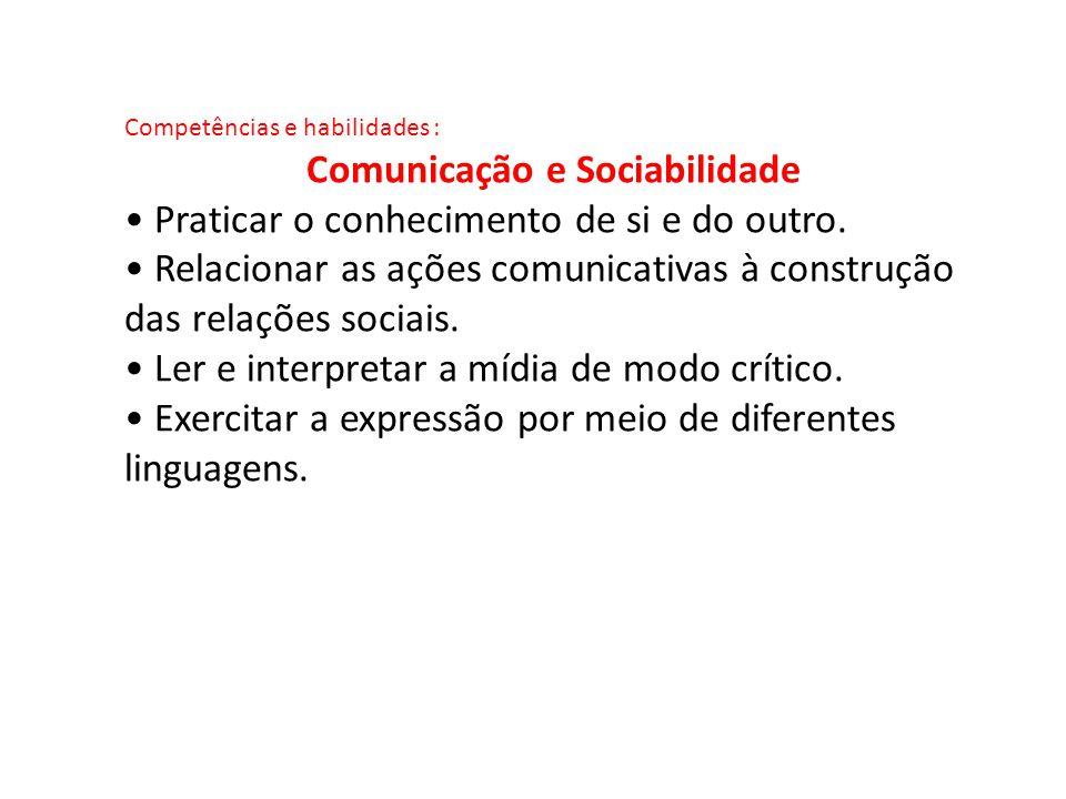 Competências e habilidades : Comunicação e Sociabilidade Praticar o conhecimento de si e do outro. Relacionar as ações comunicativas à construção das