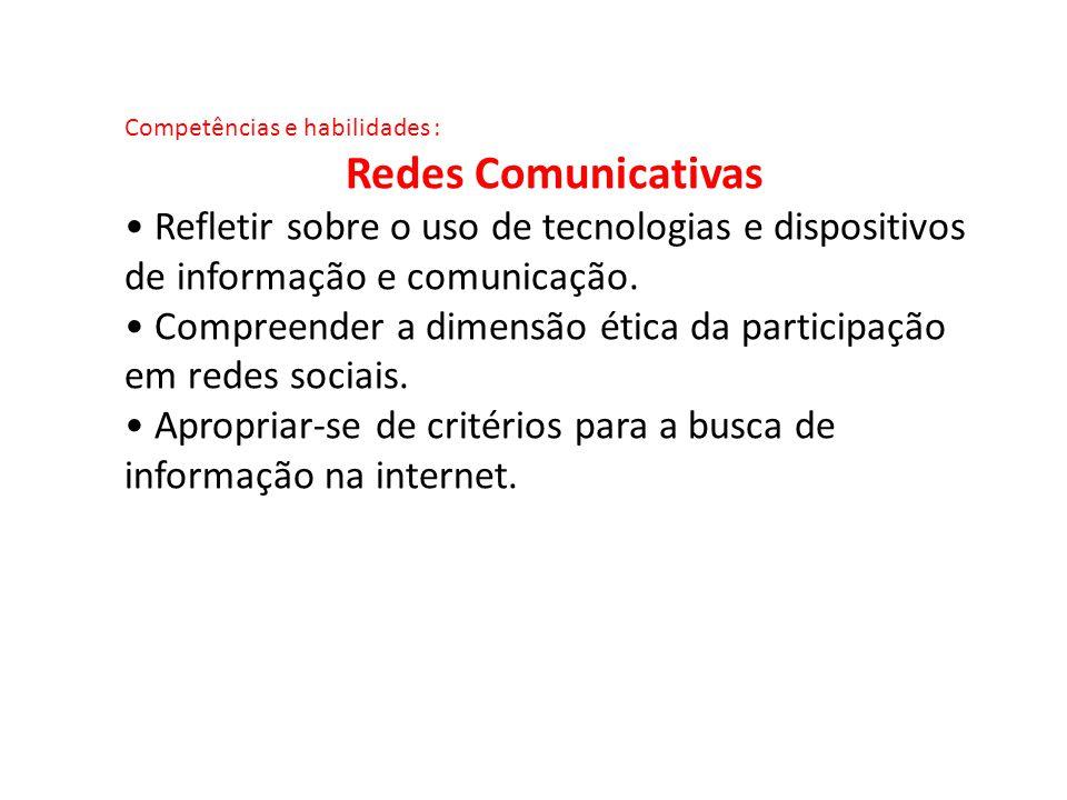 Competências e habilidades : Redes Comunicativas Refletir sobre o uso de tecnologias e dispositivos de informação e comunicação. Compreender a dimensã