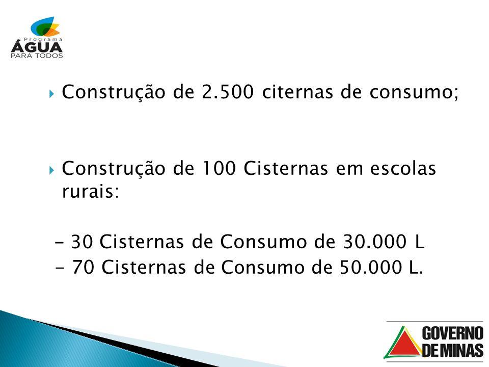 Construção de 2.500 citernas de consumo; Construção de 100 Cisternas em escolas rurais: - 30 Cisternas de Consumo de 30.000 L - 70 Cisternas de Consumo de 50.000 L.