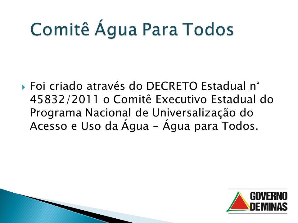 Foi criado através do DECRETO Estadual n° 45832/2011 o Comitê Executivo Estadual do Programa Nacional de Universalização do Acesso e Uso da Água - Água para Todos.