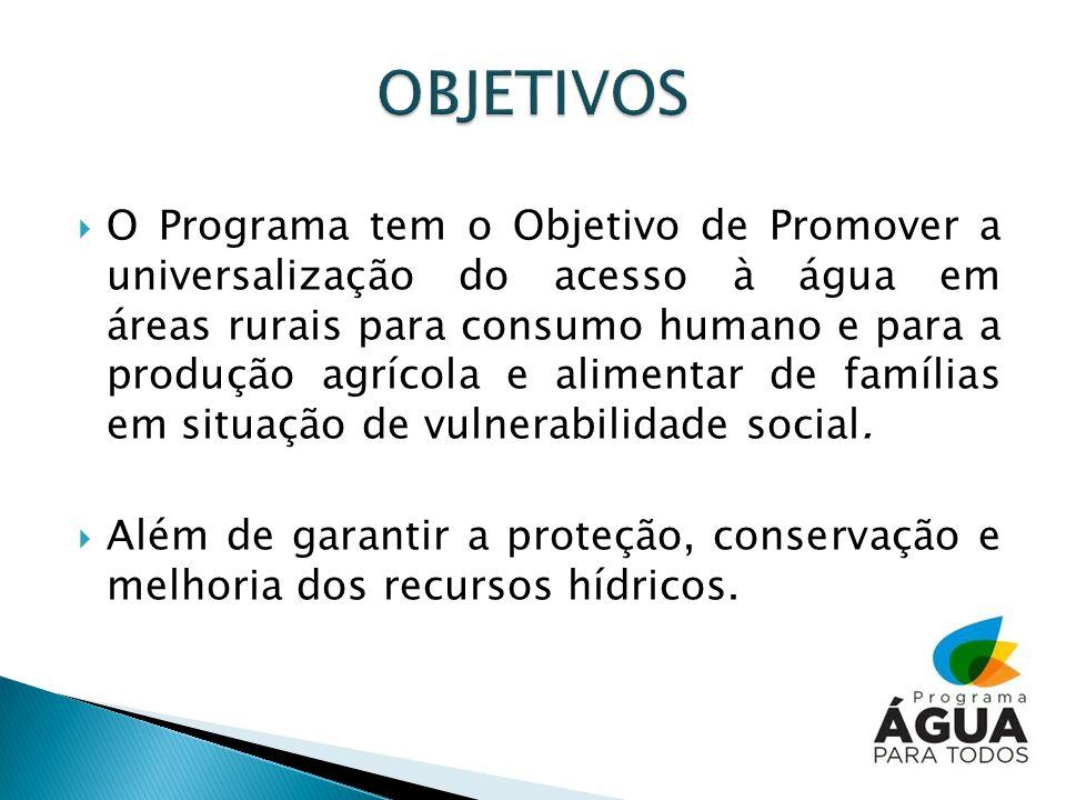 O Programa tem o Objetivo de Promover a universalização do acesso à água em áreas rurais para consumo humano e para a produção agrícola e alimentar de famílias em situação de vulnerabilidade social.