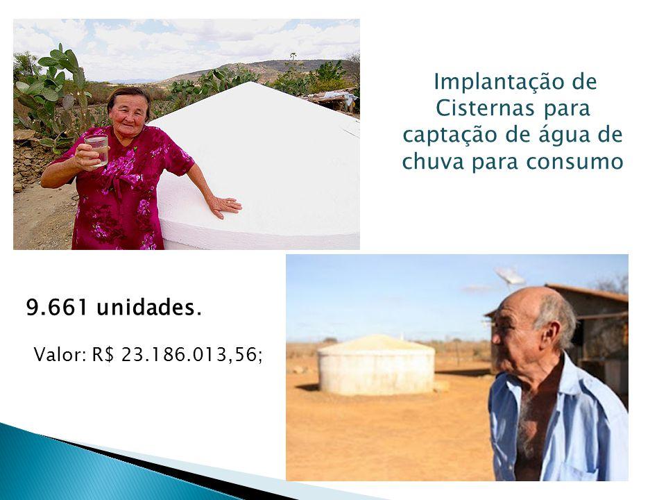 Implantação de Cisternas para captação de água de chuva para consumo 9.661 unidades.