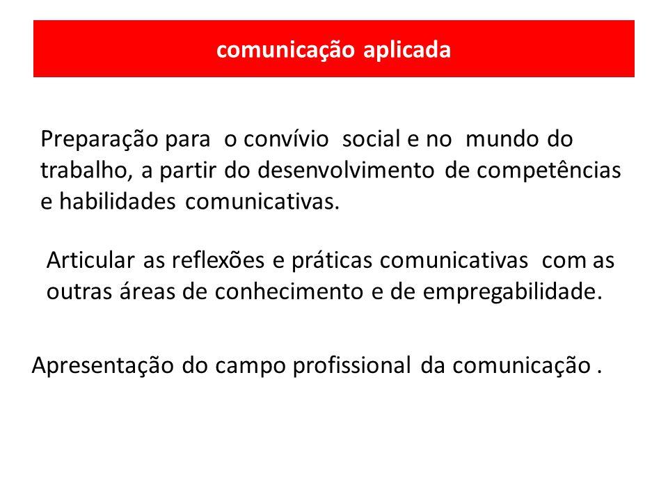 Preparação para o convívio social e no mundo do trabalho, a partir do desenvolvimento de competências e habilidades comunicativas. Apresentação do cam
