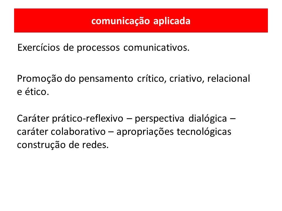 comunicação aplicada Exercícios de processos comunicativos. Caráter prático-reflexivo – perspectiva dialógica – caráter colaborativo – apropriações te