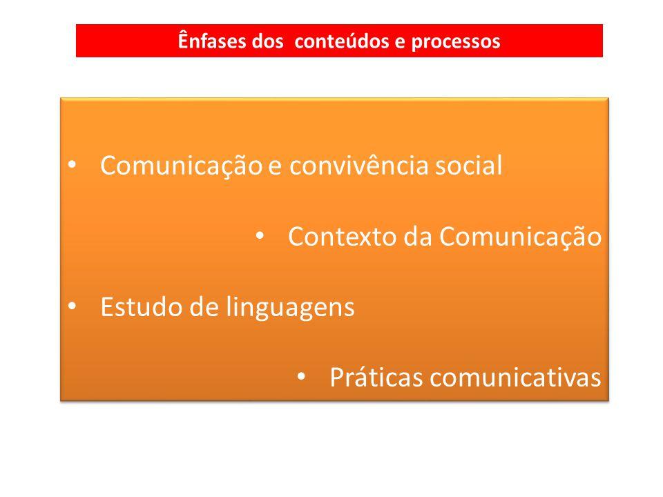 Comunicação e convivência social Contexto da Comunicação Estudo de linguagens Práticas comunicativas Comunicação e convivência social Contexto da Comunicação Estudo de linguagens Práticas comunicativas Ênfases dos conteúdos e processos