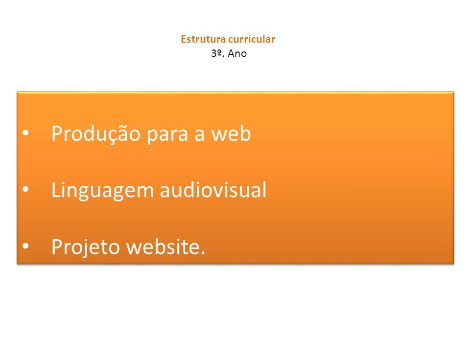Produção para a web Linguagem audiovisual Projeto website. Produção para a web Linguagem audiovisual Projeto website. Estrutura curricular 3º. Ano