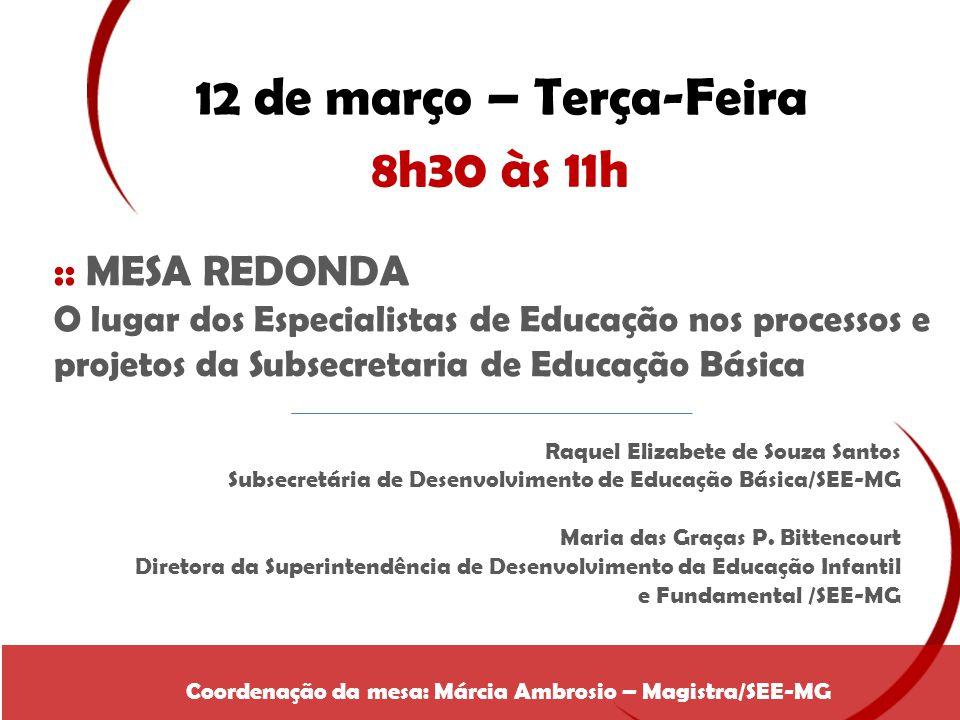 12 de março – Terça-Feira 8h30 às 11h :: MESA REDONDA O lugar dos Especialistas de Educação nos processos e projetos da Subsecretaria de Educação Bási