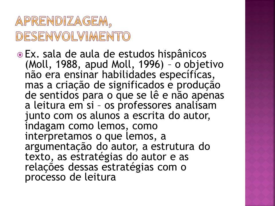 Ex. sala de aula de estudos hispânicos (Moll, 1988, apud Moll, 1996) – o objetivo não era ensinar habilidades específicas, mas a criação de significad