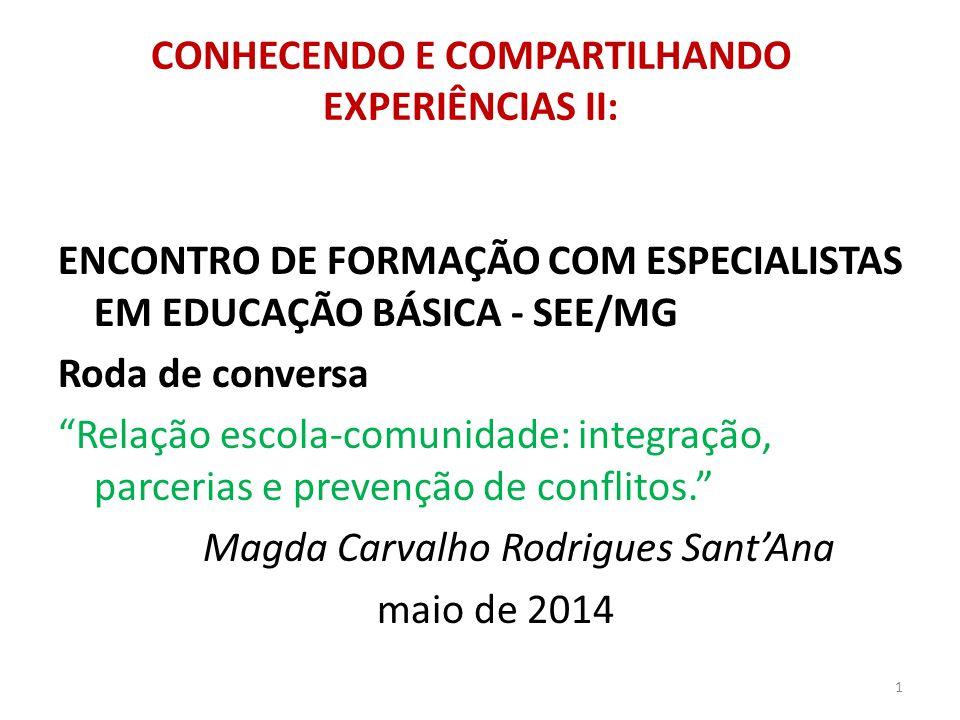 CONHECENDO E COMPARTILHANDO EXPERIÊNCIAS II: ENCONTRO DE FORMAÇÃO COM ESPECIALISTAS EM EDUCAÇÃO BÁSICA - SEE/MG Roda de conversa Relação escola-comuni