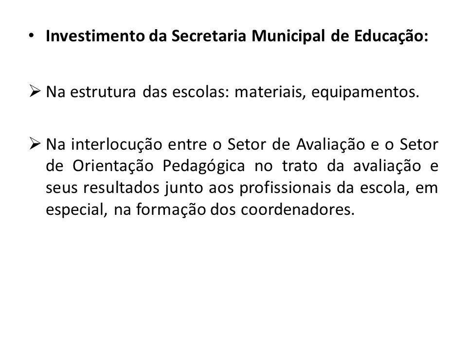Investimento da Secretaria Municipal de Educação: Na estrutura das escolas: materiais, equipamentos.