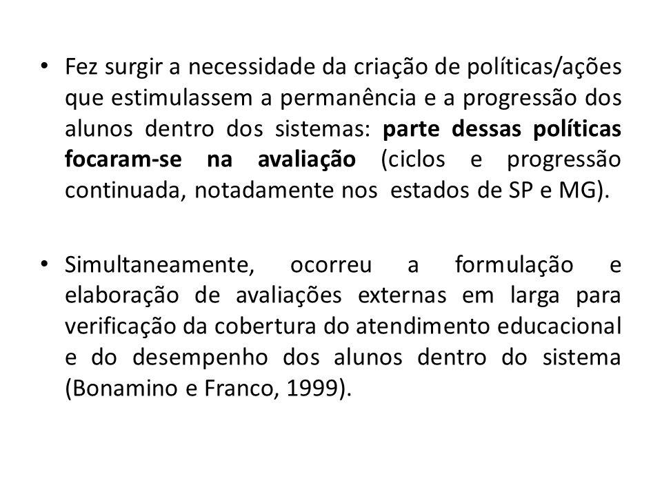 Três visões de estudiosos da área, sobre as avaliações (Ribeiro e Pimenta, 2011): Garantem a transparência e mobilizam a sociedade para a melhoria educacional: Fernandes, 2007 e Castro, 2007.