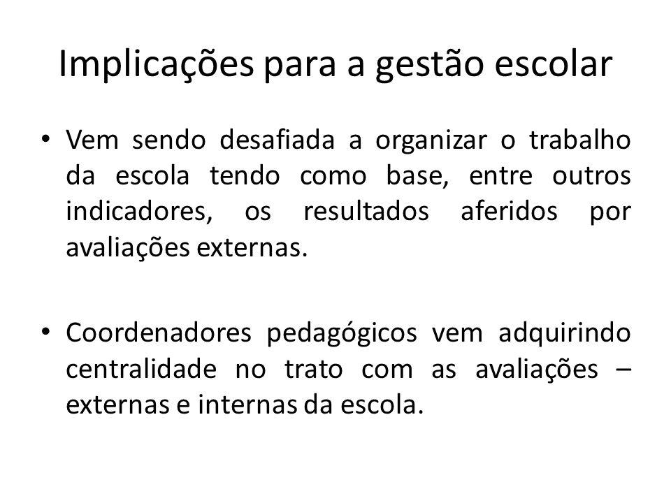 Implicações para a gestão escolar Vem sendo desafiada a organizar o trabalho da escola tendo como base, entre outros indicadores, os resultados aferidos por avaliações externas.