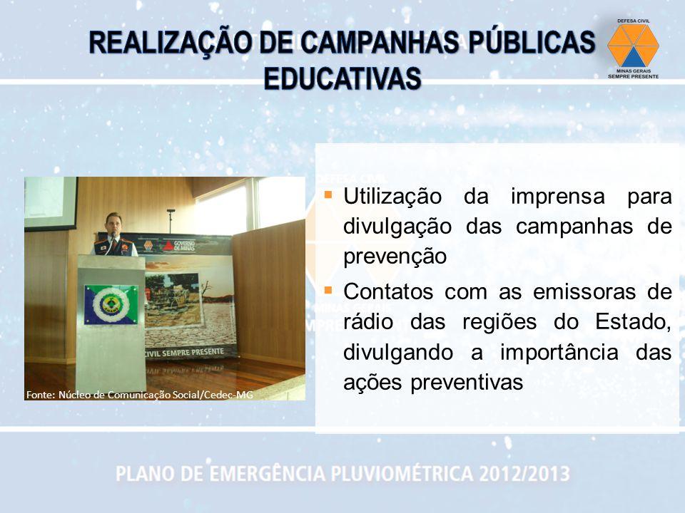 Utilização da imprensa para divulgação das campanhas de prevenção Contatos com as emissoras de rádio das regiões do Estado, divulgando a importância d