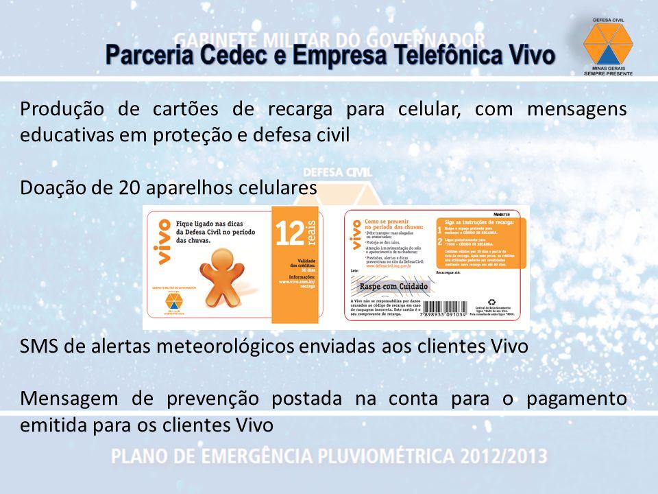 Produção de cartões de recarga para celular, com mensagens educativas em proteção e defesa civil Doação de 20 aparelhos celulares SMS de alertas meteo