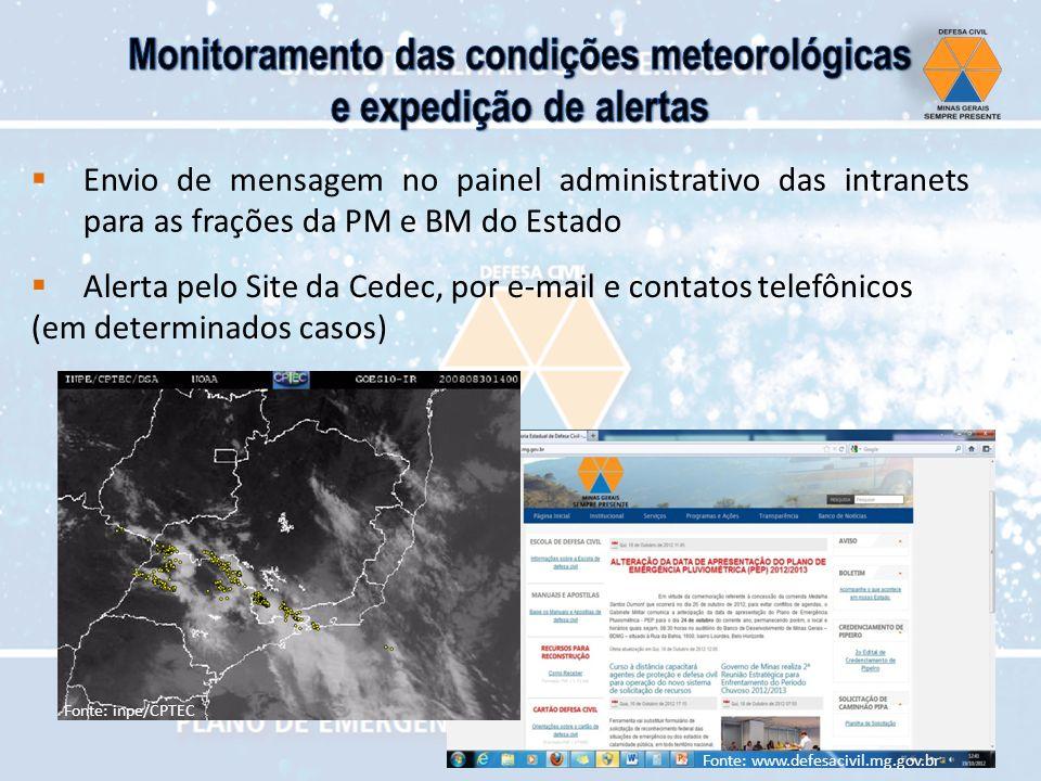 Envio de mensagem no painel administrativo das intranets para as frações da PM e BM do Estado Alerta pelo Site da Cedec, por e-mail e contatos telefôn