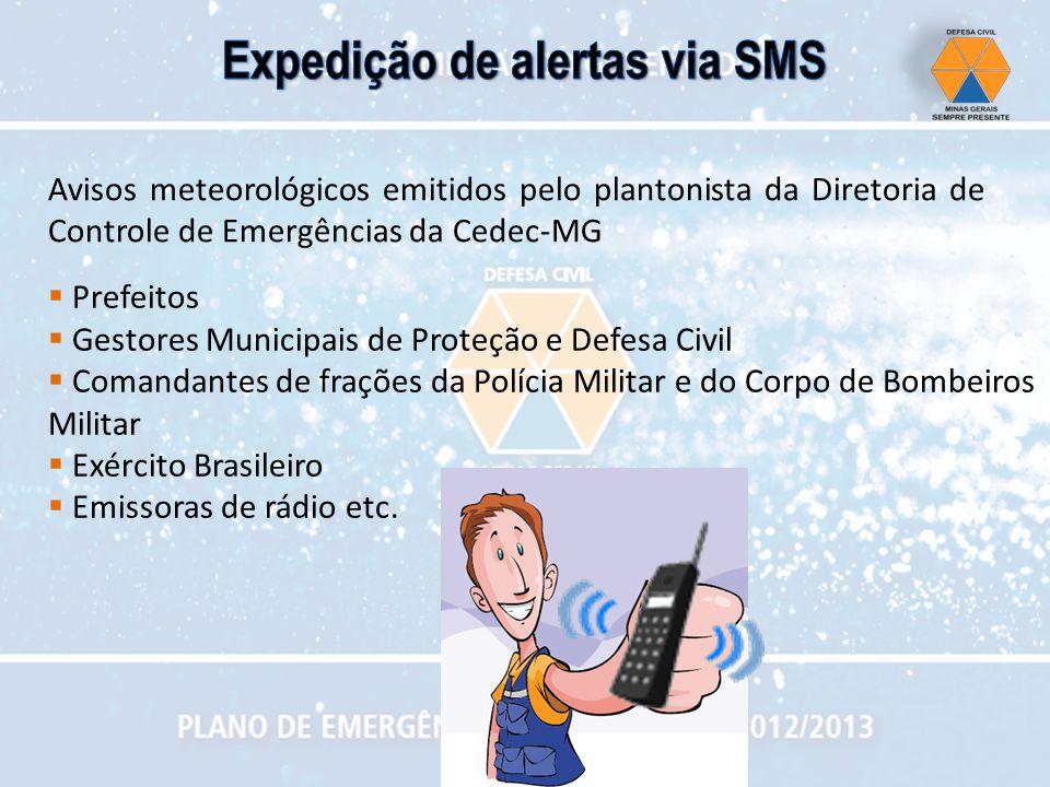 Avisos meteorológicos emitidos pelo plantonista da Diretoria de Controle de Emergências da Cedec-MG Prefeitos Gestores Municipais de Proteção e Defesa