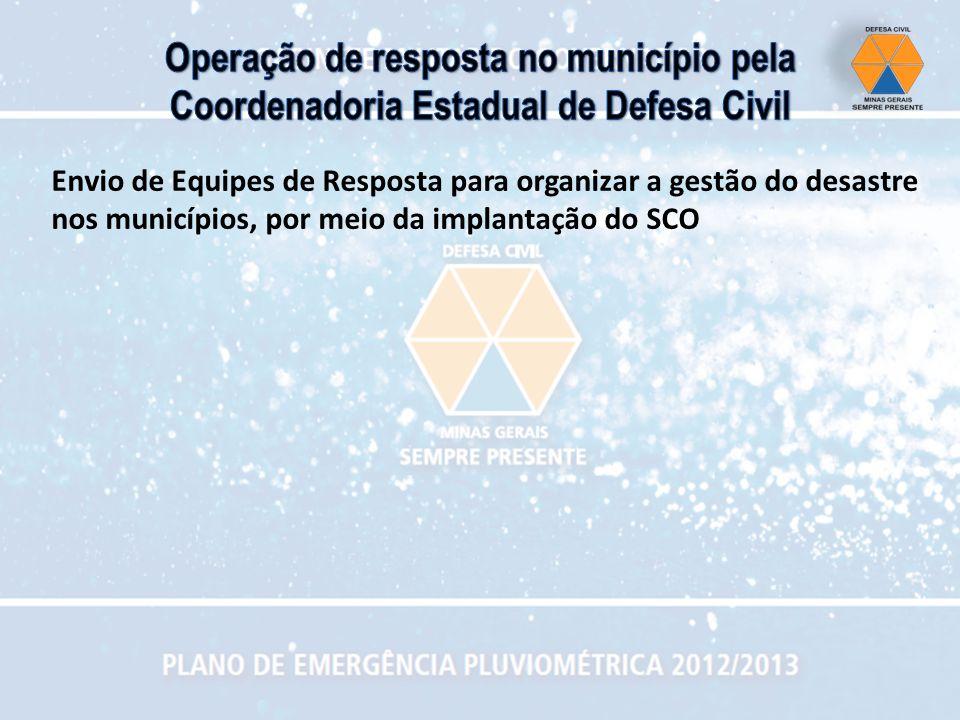 Envio de Equipes de Resposta para organizar a gestão do desastre nos municípios, por meio da implantação do SCO