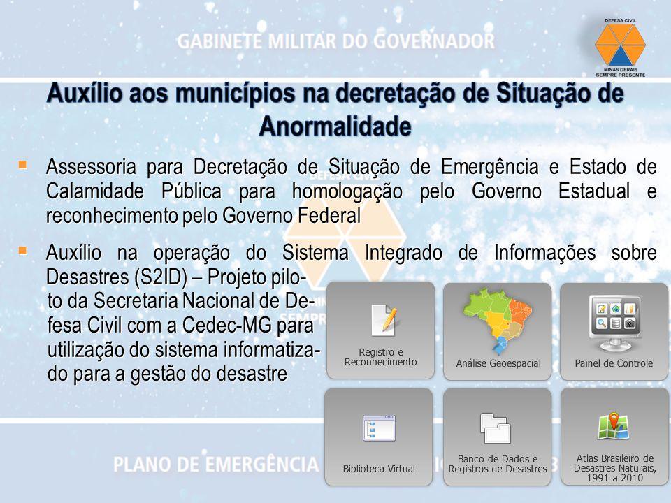 Assessoria para Decretação de Situação de Emergência e Estado de Calamidade Pública para homologação pelo Governo Estadual e reconhecimento pelo Gover