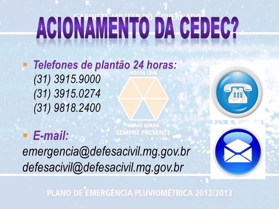 Telefones de plantão 24 horas: (31) 3915.9000 (31) 3915.0274 (31) 9818.2400 E-mail: emergencia@defesacivil.mg.gov.br defesacivil@defesacivil.mg.gov.br