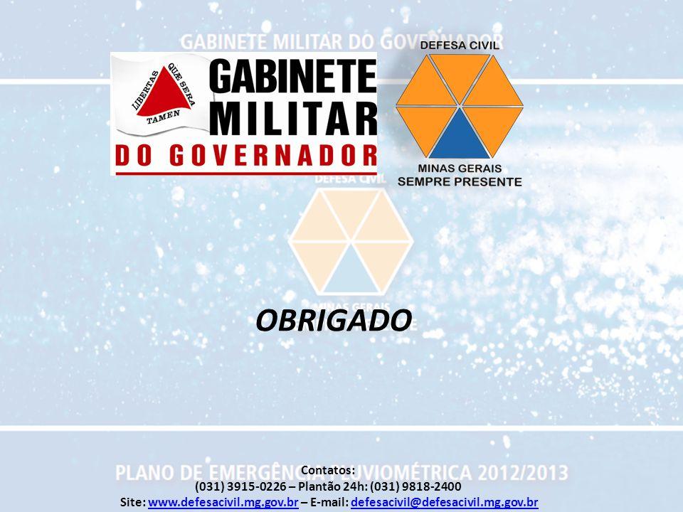 OBRIGADO Contatos: (031) 3915-0226 – Plantão 24h: (031) 9818-2400 Site: www.defesacivil.mg.gov.br – E-mail: defesacivil@defesacivil.mg.gov.brwww.defes