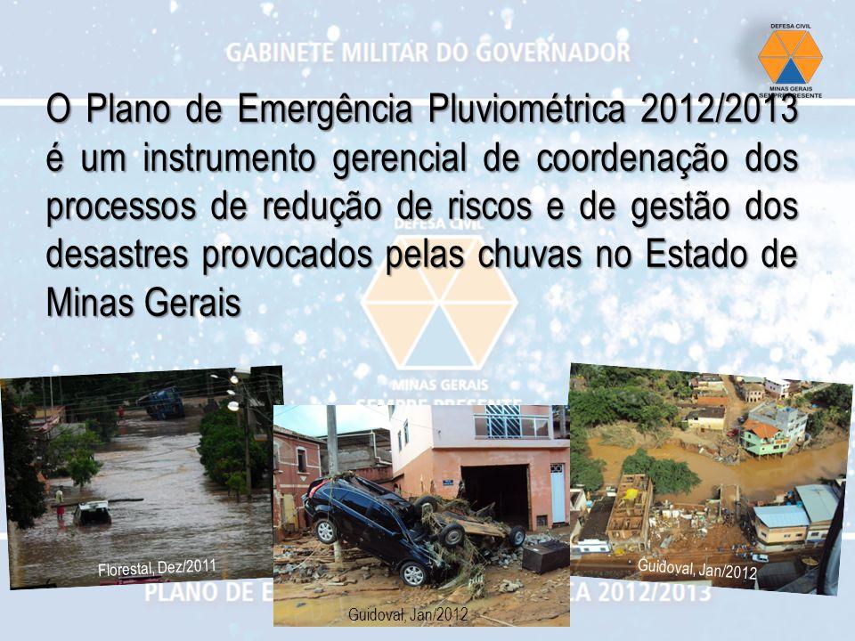 O Plano de Emergência Pluviométrica 2012/2013 é um instrumento gerencial de coordenação dos processos de redução de riscos e de gestão dos desastres p