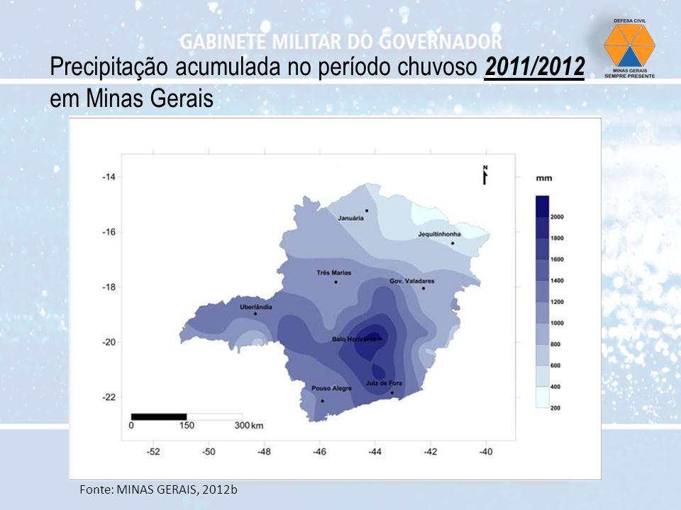 Precipitação acumulada no período chuvoso 2011/2012 em Minas Gerais Fonte: MINAS GERAIS, 2012b