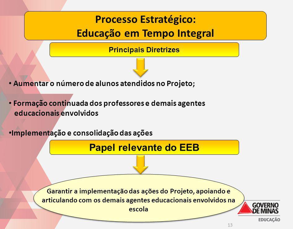 13 Processo Estratégico: Educação em Tempo Integral Aumentar o número de alunos atendidos no Projeto; Formação continuada dos professores e demais age