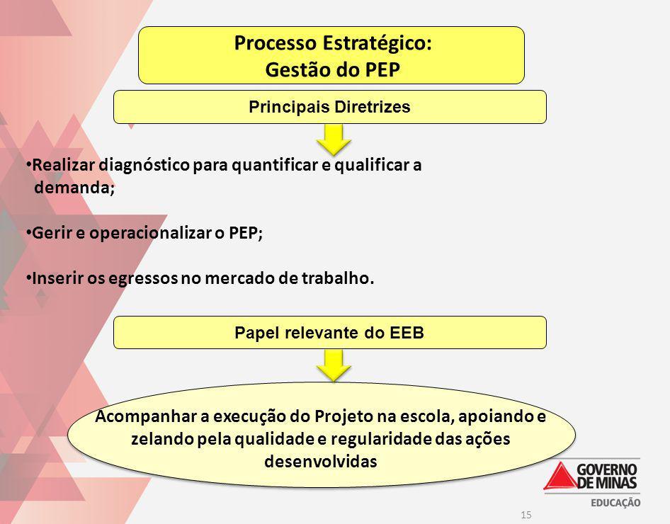 15 Processo Estratégico: Gestão do PEP Realizar diagnóstico para quantificar e qualificar a demanda; Gerir e operacionalizar o PEP; Inserir os egresso