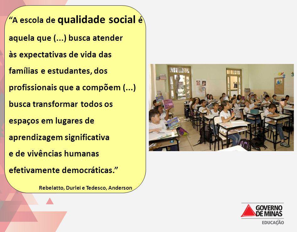 A escola de qualidade social é aquela que (...) busca atender às expectativas de vida das famílias e estudantes, dos profissionais que a compõem (...)