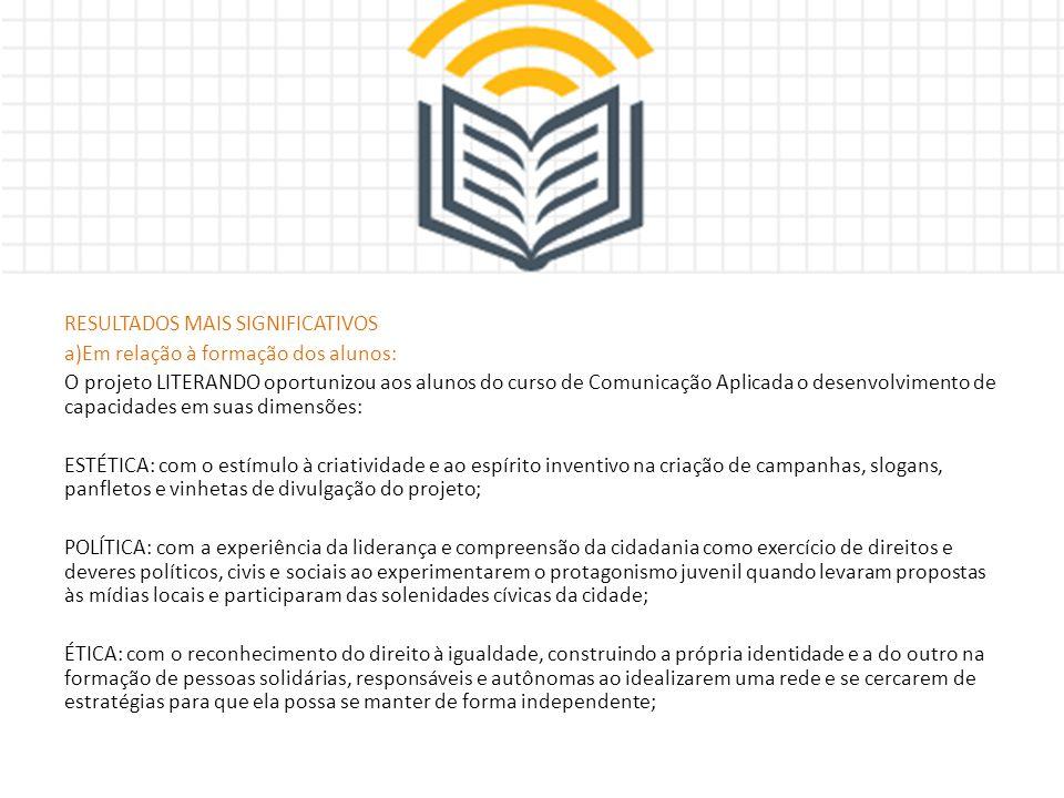 RESULTADOS MAIS SIGNIFICATIVOS a)Em relação à formação dos alunos: O projeto LITERANDO oportunizou aos alunos do curso de Comunicação Aplicada o desen