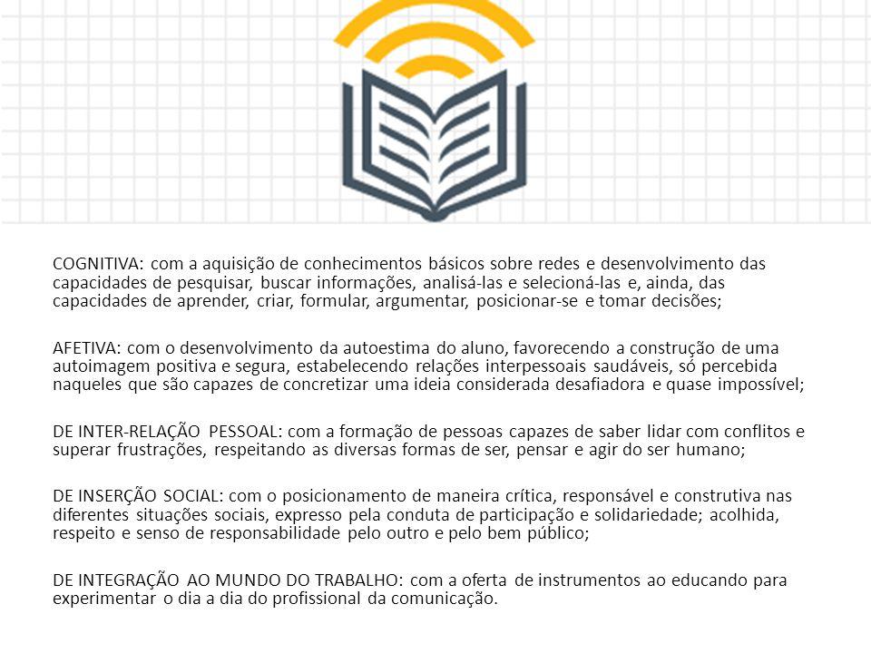 COGNITIVA: com a aquisição de conhecimentos básicos sobre redes e desenvolvimento das capacidades de pesquisar, buscar informações, analisá-las e sele