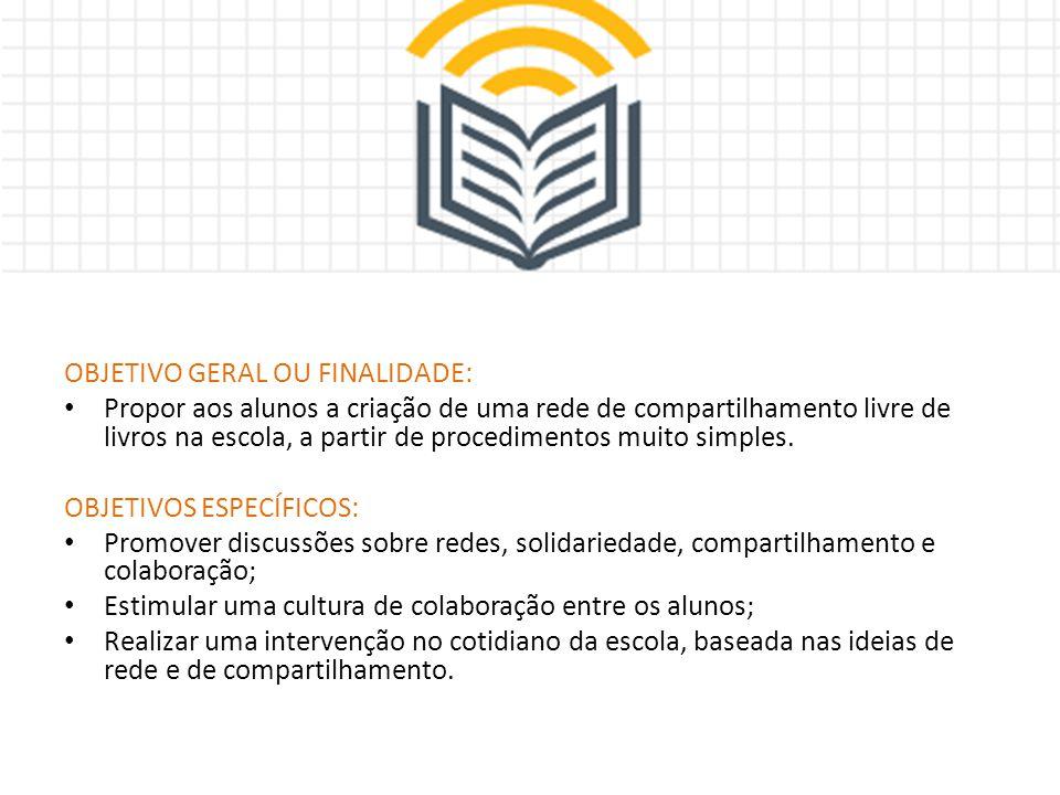 OBJETIVO GERAL OU FINALIDADE: Propor aos alunos a criação de uma rede de compartilhamento livre de livros na escola, a partir de procedimentos muito s