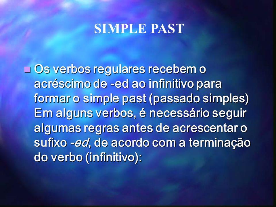 Os verbos regulares recebem o acréscimo de -ed ao infinitivo para formar o simple past (passado simples) Em alguns verbos, é necessário seguir algumas regras antes de acrescentar o sufixo -ed, de acordo com a terminação do verbo (infinitivo): Os verbos regulares recebem o acréscimo de -ed ao infinitivo para formar o simple past (passado simples) Em alguns verbos, é necessário seguir algumas regras antes de acrescentar o sufixo -ed, de acordo com a terminação do verbo (infinitivo): SIMPLE PAST