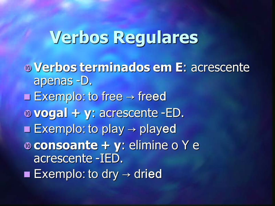 Negativa Sujeito + did not (didn t) + verbo no infinitivo (sem o to) To study= estudar She didnt study yesterday.